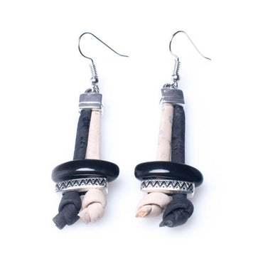White and Black Cork Earrings | HowCork - The Cork Marketplace