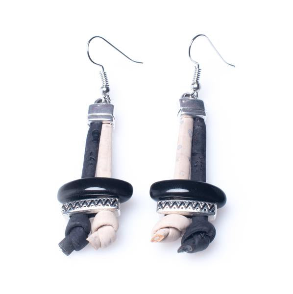White and Black Cork Earrings - HowCork