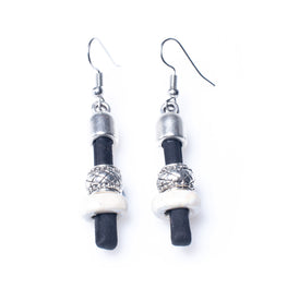Black Cork Earrings with White Ceramics | HowCork - The Cork Marketplace