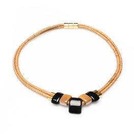 Black and Beige Ceramic Cork Necklace - HowCork