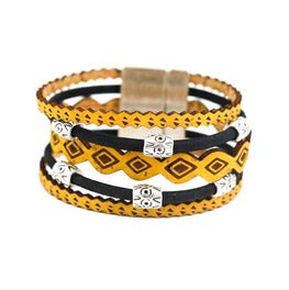 Yellow and Black Tribal Cork Bracelet