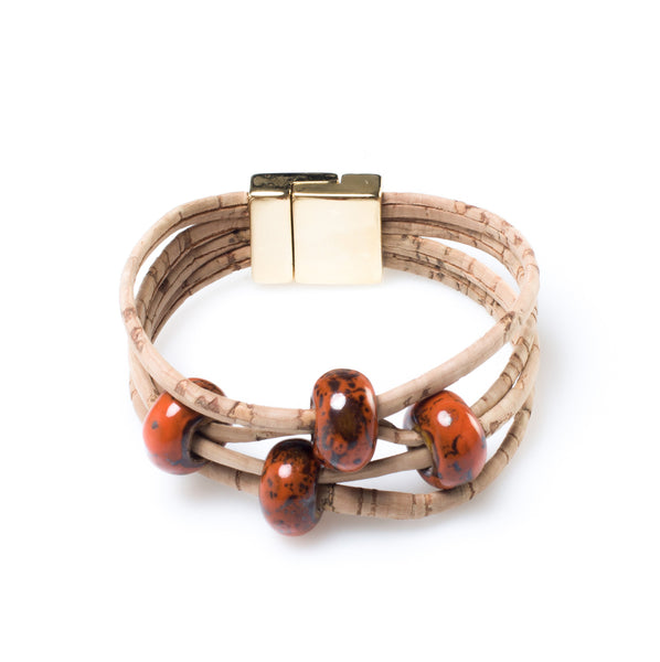 Intense Orange Cork Bracelet - HowCork