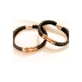 Black Cork Unisex Bracelet with Steel Beads