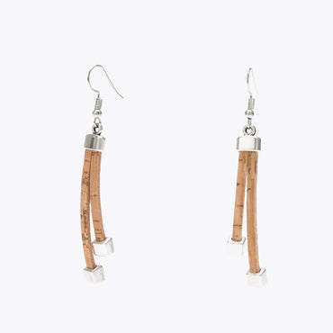 Cork Earrings with Silver Squares