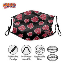Naruto Akatsuki Clouds Face Mask, Comfortable/Adjustable/Protective Face Mask w/Back Pocket for Filter