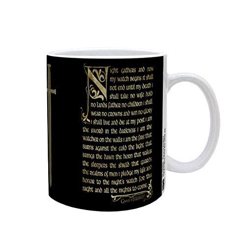 [Pre Order]  Games of Thrones - NIGHT'S WATCH OATH, Black based w/White handled Ceramic Coffee Mug, Set of 1, 11oz