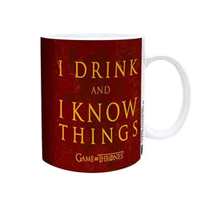 [Pre Order] Game of Thrones - I DRINK AND I KNOW THINGS Red Color Ceramic Coffee Mug w/White color Handle, Set of 1, 11oz