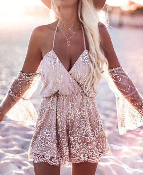 Elegant Lace Gold Thread Off Shoulder Dress