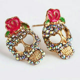 Cute Rose Skull Earrings