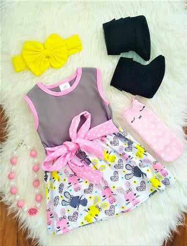 Yellow Pink Bunny Polka Dot Dress