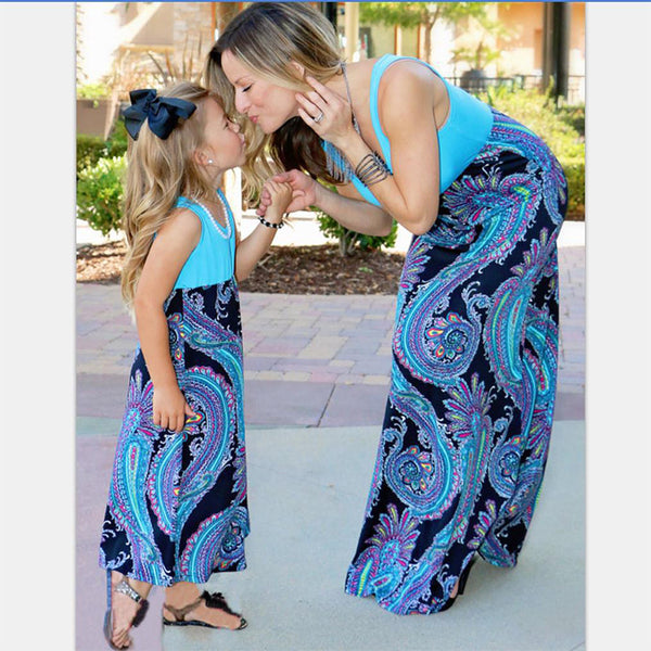 Floral Sleeveless Mother Daughter Matching Dresses