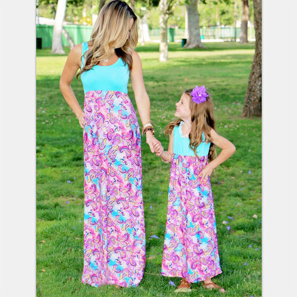 Floral Mother Daughter Sleeveless Long Matching Dresses