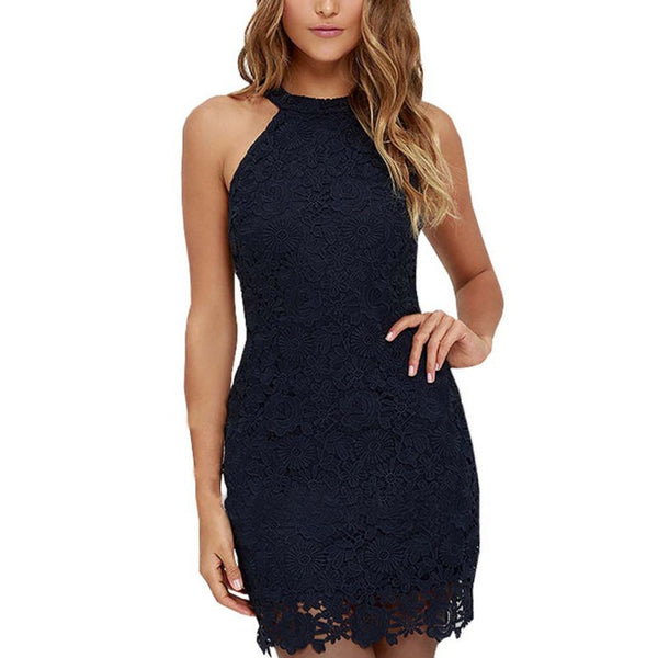 Elegant Halter Neck Sleeveless Sheath Bodycon Lace Dress
