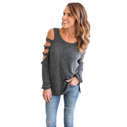 Sexy Long Sleeve Round Collar Hollow Casual Top