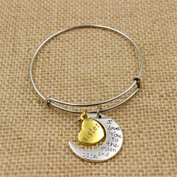 "Family Member Bangle Bracelet "" i love you to the moon and back"""