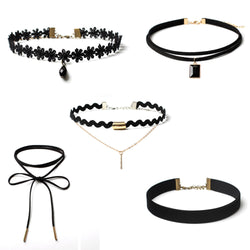5 Piece Set Stretch Velvet Classic Gothic Tattoo Lace Choker Necklace