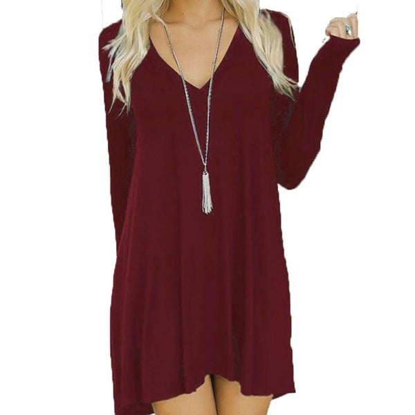 Casual Long Sleeve Short Midi Dress