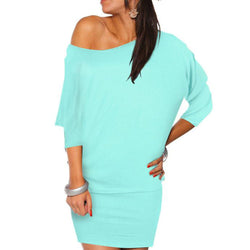 Off Shoulder  Long Sleeve Batwing Tunic Mini Dress