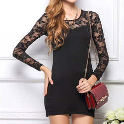 Lace Long Sleeve Slim Solid Color Dress