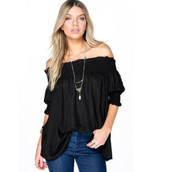 Off Shoulder Fashion Black Blouse