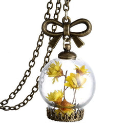 Beautiful Dried Wild Flowers Glass Necklace