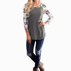 Rose Floral Black and White Striped Casual Top