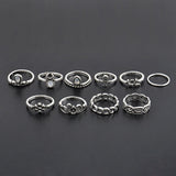 10 piece Silver Plated Sun Flower Twist Vintage Rings