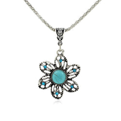 Retro Bohemian Fine Sunflower Turquoise Pendant Necklace
