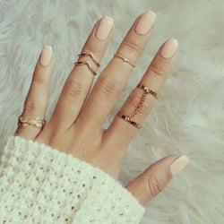 6pcs /set Unique style Gold plated Stacking Midi Finger Rings
