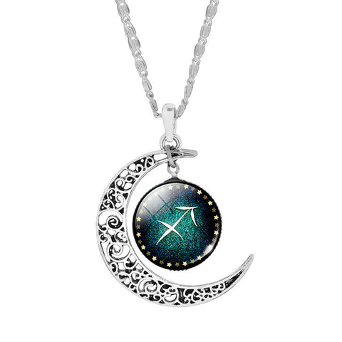 Zodiac Silver Crescent Pendant Necklace