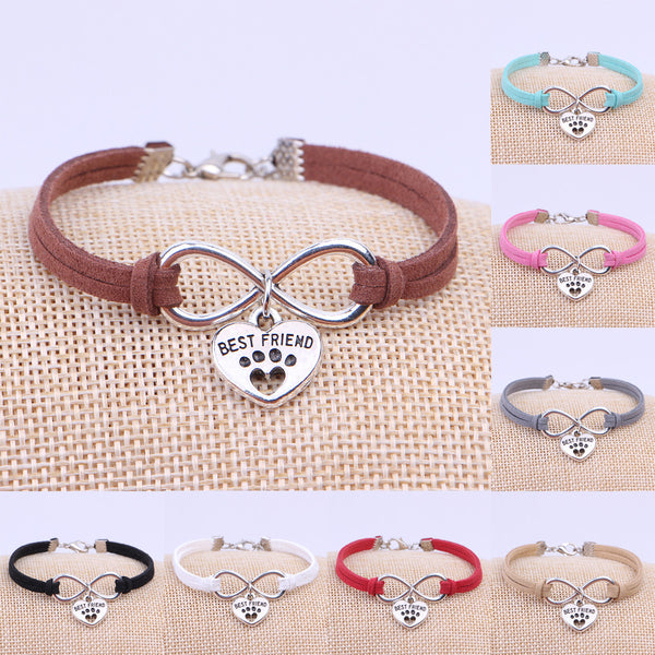Best Friend Dog Paw Charm Leather Infinity Bracelet