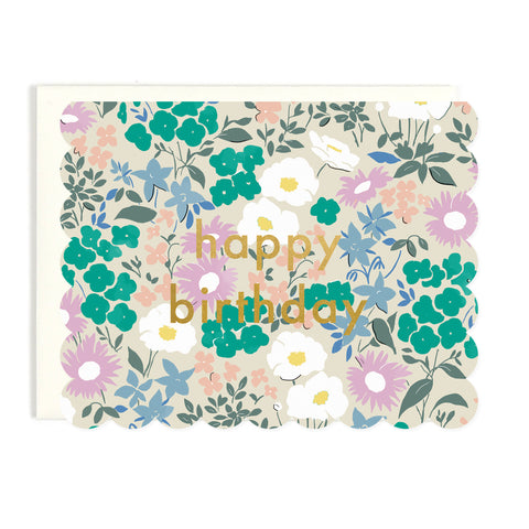 Happy Birthday Scalloped Floral