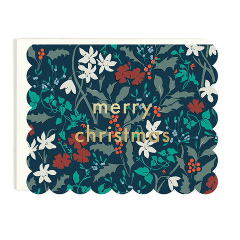 Merry Christmas Scalloped Floral