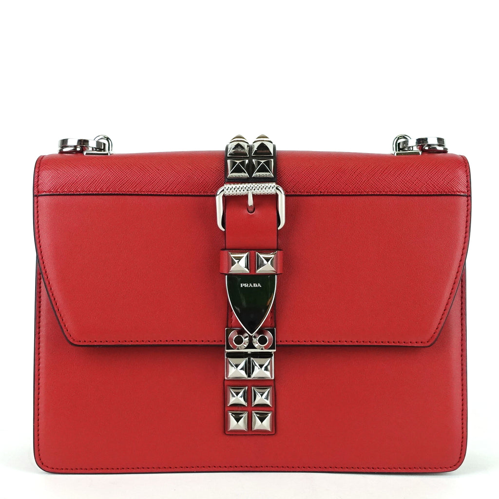 Elektra Studded Medium Calf Leather Shoulder Bag