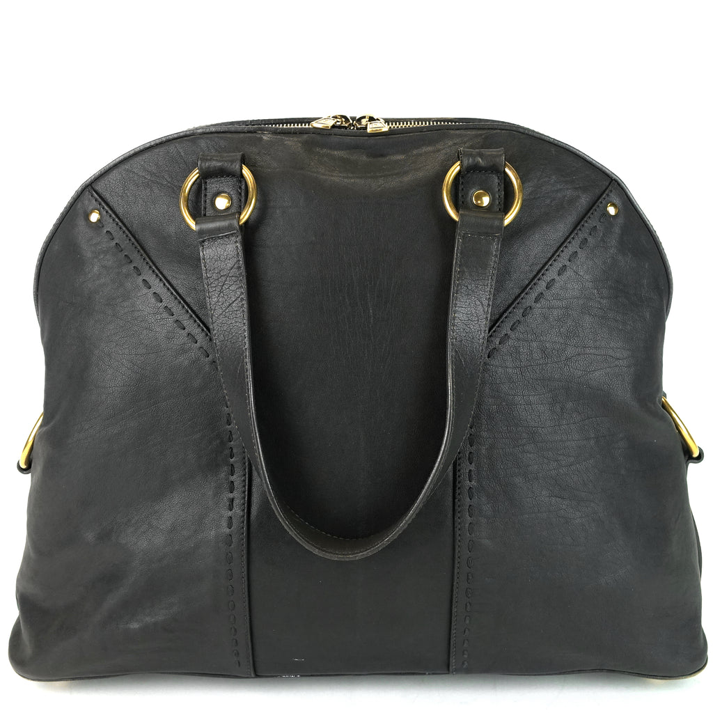 Muse Oversize Gray Leather Bag