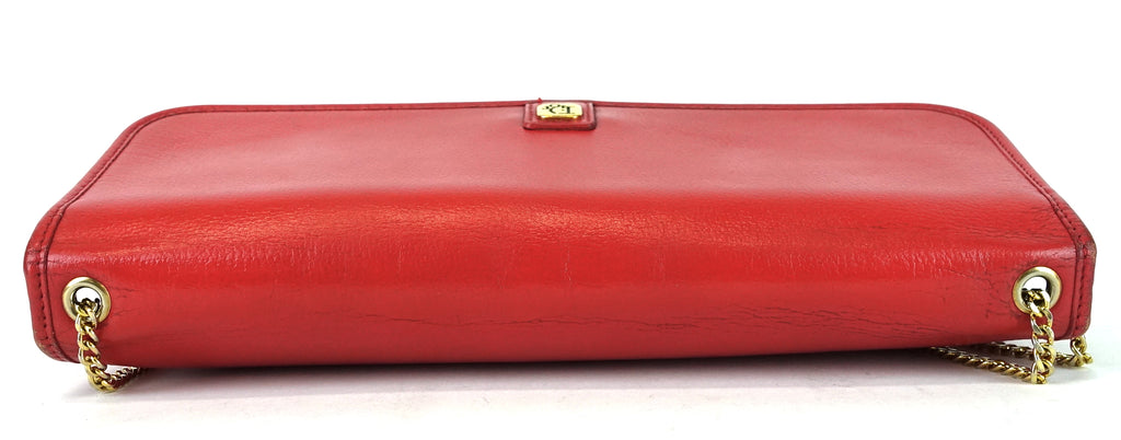 Red Leather Vintage Crossbody Bag