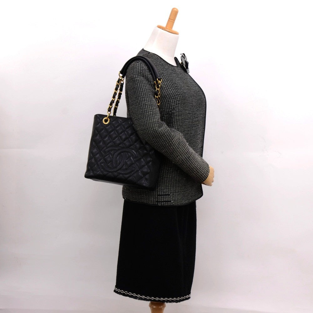 Quilted Caviar Leather Petite Shopping Tote Bag