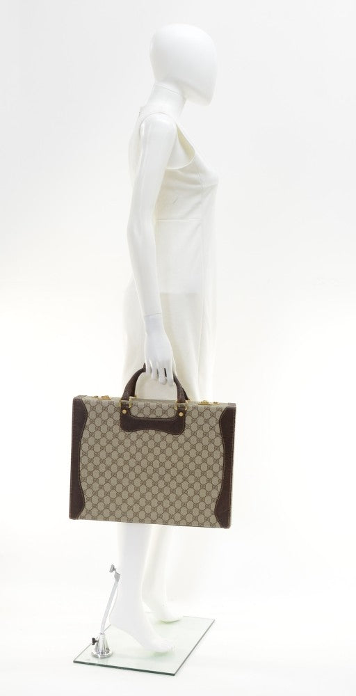 Guccissima Canvas and Leather Briefcase Bag