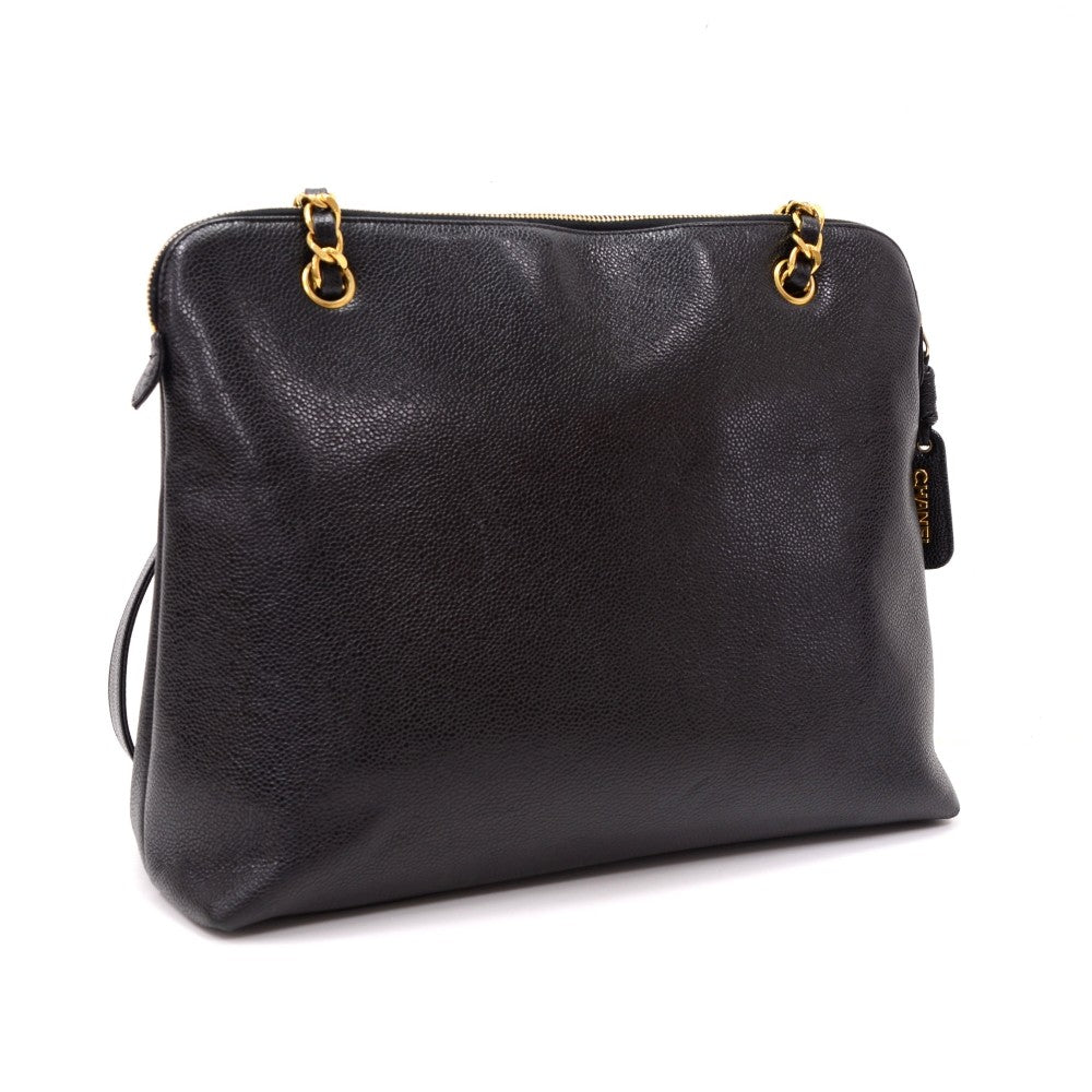 Caviar Leather Frontal Envelope Pocket Shoulder Bag