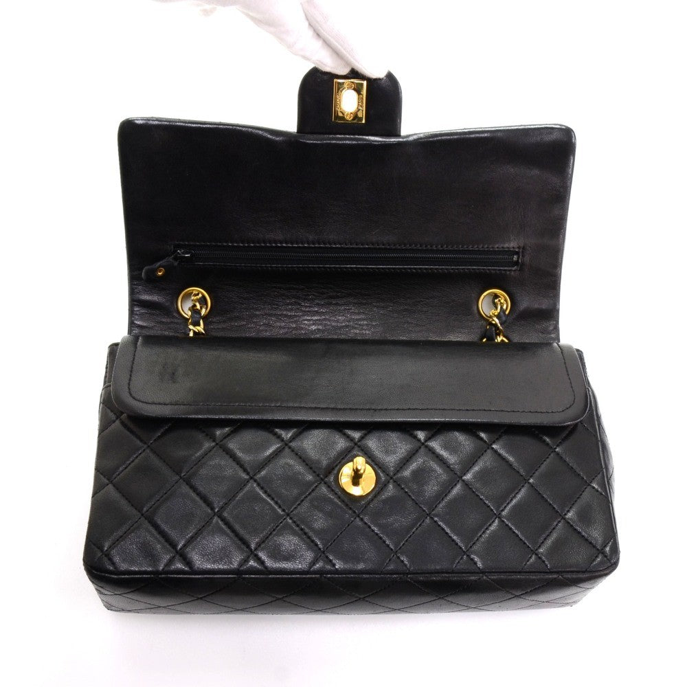 Double Flap Lambskin Leather Shoulder Bag