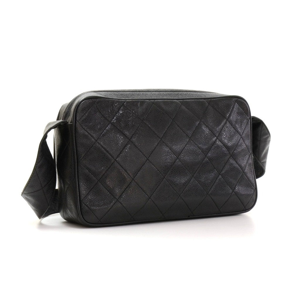 Quilted Caviar Leather Medium Shoulder Bag