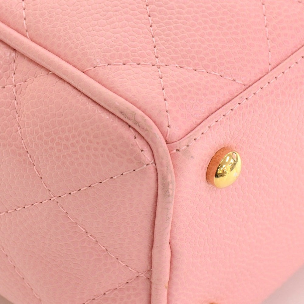 Quilted Caviar Leather Boston Bag