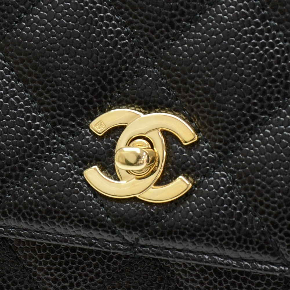 Kelly Quilted Caviar Leather Handbag