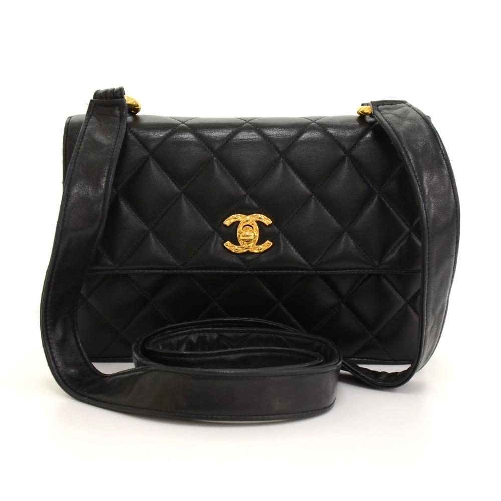 "9"" Single Flap Quilted Lambskin Leather Shoulder Bag"