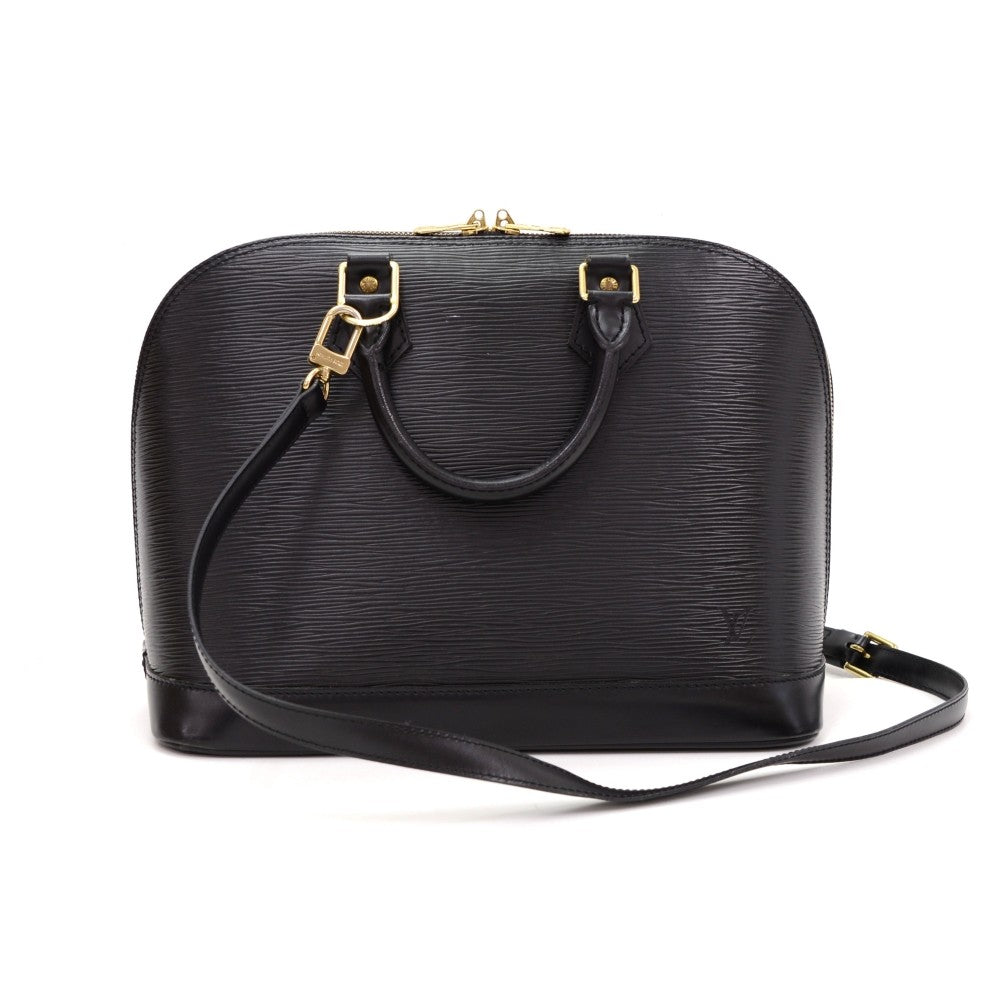 Alma PM Black Epi Leather with Shoulder Strap