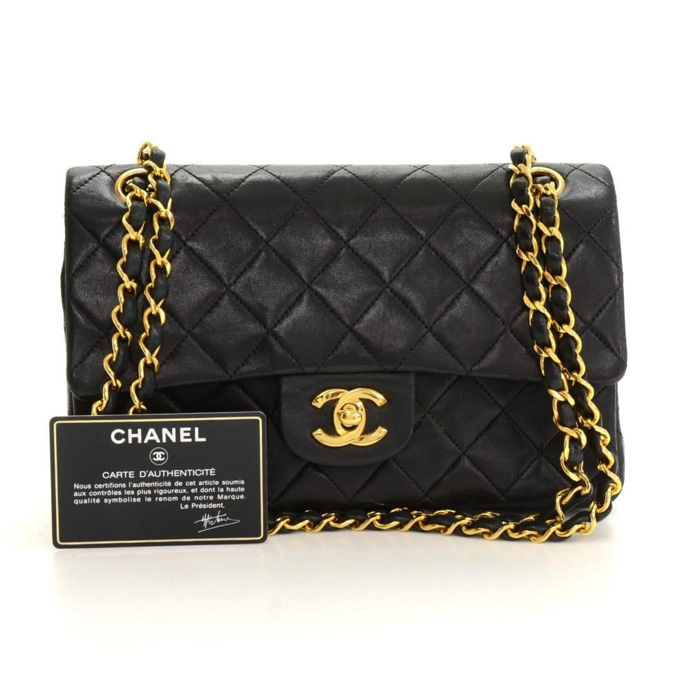 "2.55 9"" Quilted Leather Double Flap Shoulder Bag"