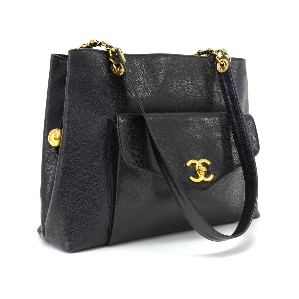 "12"" Caviar Leather Shoulder Bag"
