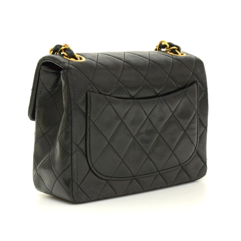 "7"" Quilted Lambskin Leather Shoulder Bag"