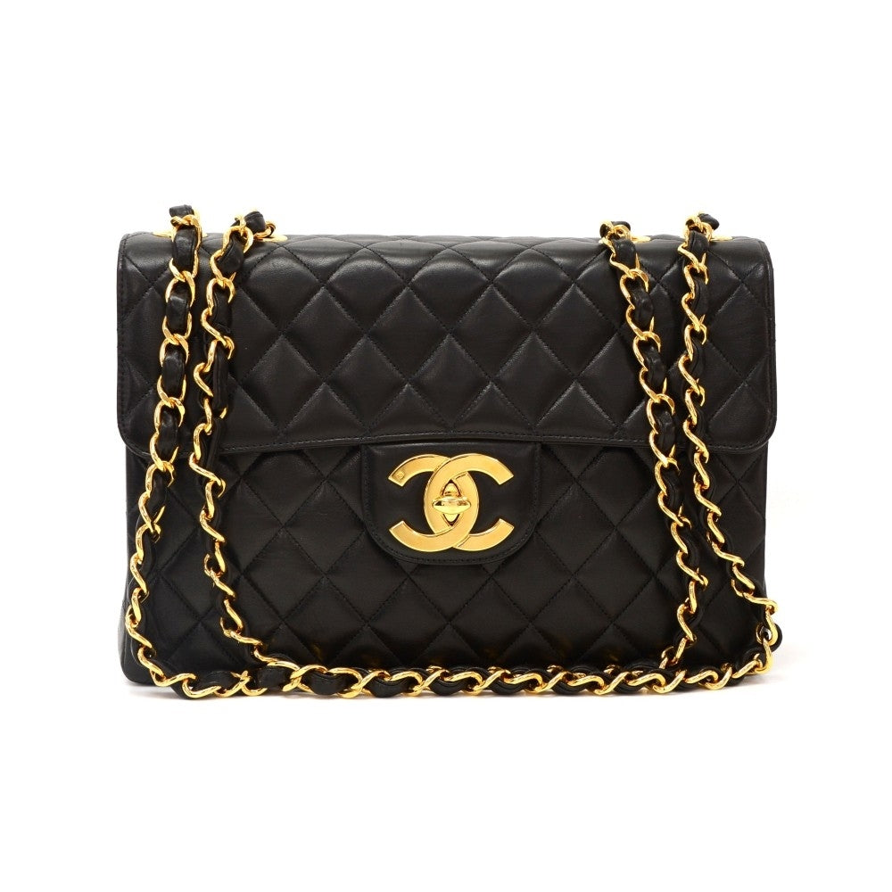 Jumbo Quilted Lambskin Leather Shoulder Bag