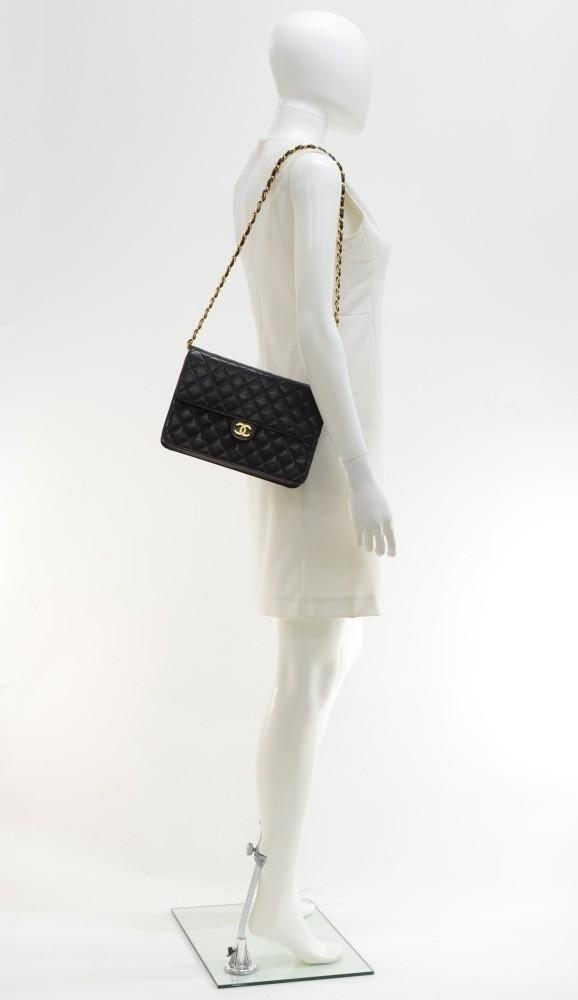 "10"" Quilted Lambskin Leather Shoulder Bag"